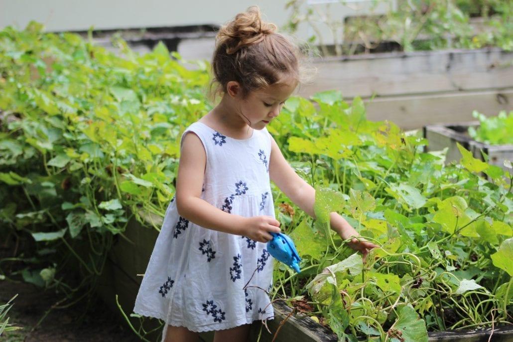 Kid playing in spring garden